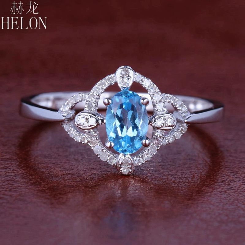 HELON Solid 10K White Gold Engagement Pave Genuine Natural Diamond & Blue Topaz Oval Cut 4x6mm Wedding Women Trendy Jewelry RingHELON Solid 10K White Gold Engagement Pave Genuine Natural Diamond & Blue Topaz Oval Cut 4x6mm Wedding Women Trendy Jewelry Ring