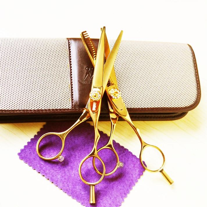 Super cheap Wholesale buy 5 pcs get 1 gold titanium 5.5 inch hair professional thinning scissors and  cutting scissors set