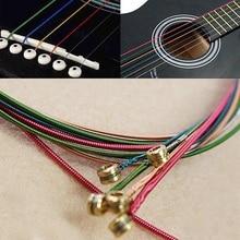 Practical 6pcs/Set Hot Acoustic Guitar Rainbow Colorful Steel Strings For Acoustic Folk Guitar Classic Guitar