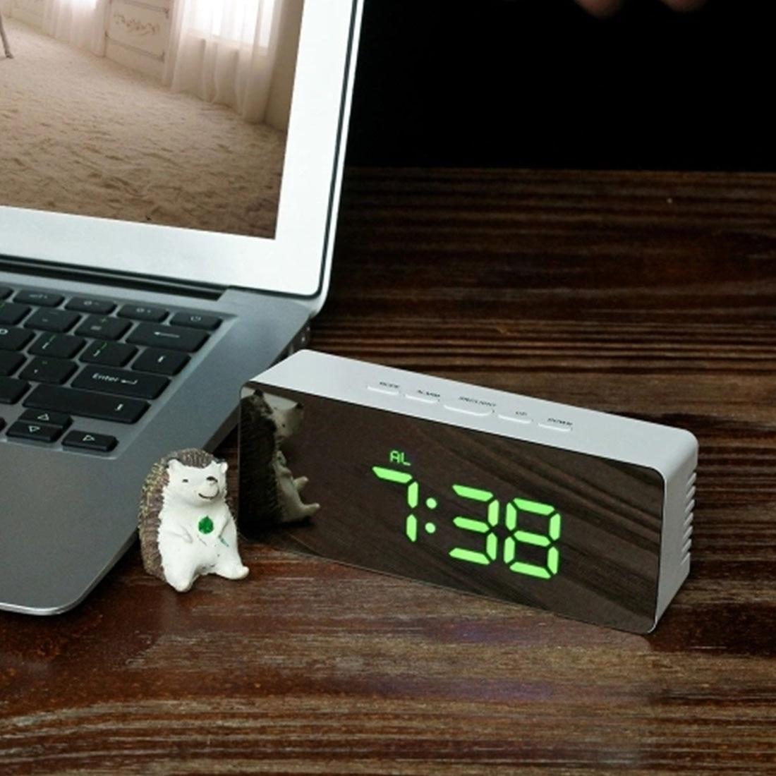 Digital Mirror Led Alarm Clock Night Lights Thermometer