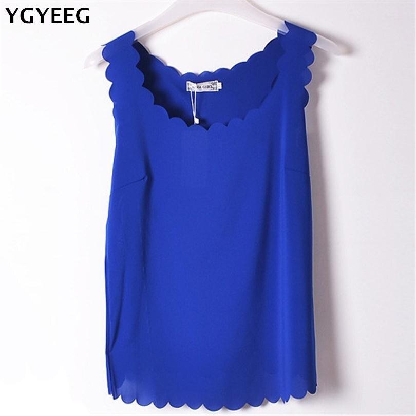 YGYEEG Sexy Women Chiffon   Tank     Tops   Shiny Female Vest Sleeveless Vest Casual Tshirt Women Female Solid Fitness Fashion Clothes