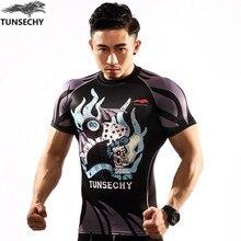 New 2017 TUNSECHY brand man short sleeve T-shirt original design happyday English alphabet 3D T-shirt Digital printing fine