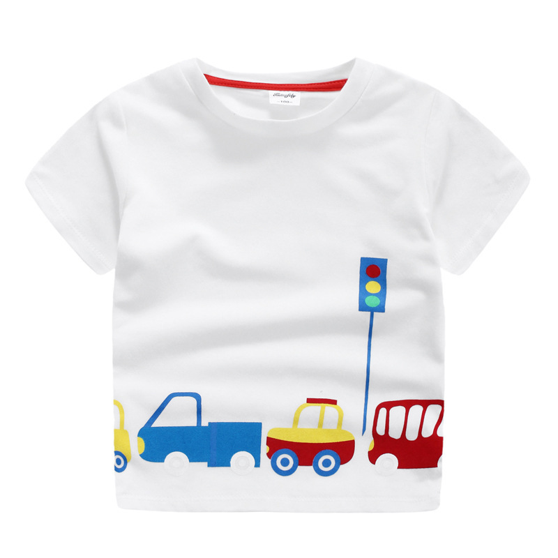 Childrens Car Cartoon Traffic Lights T-shirt Boy Short Sleeve Blouse In The Summer Children Clothes Wear Cotton Baby Shirt T