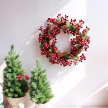 Christmas Wreath Artificial Red Berry Rattan wreaths Decorations Berries Window Door Hanging 1pc 45cm