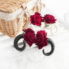 Красивая заколка в виде оленьих рогов, цветов розы, аксессуары для волос на зажиме, мягкие заколки для волос