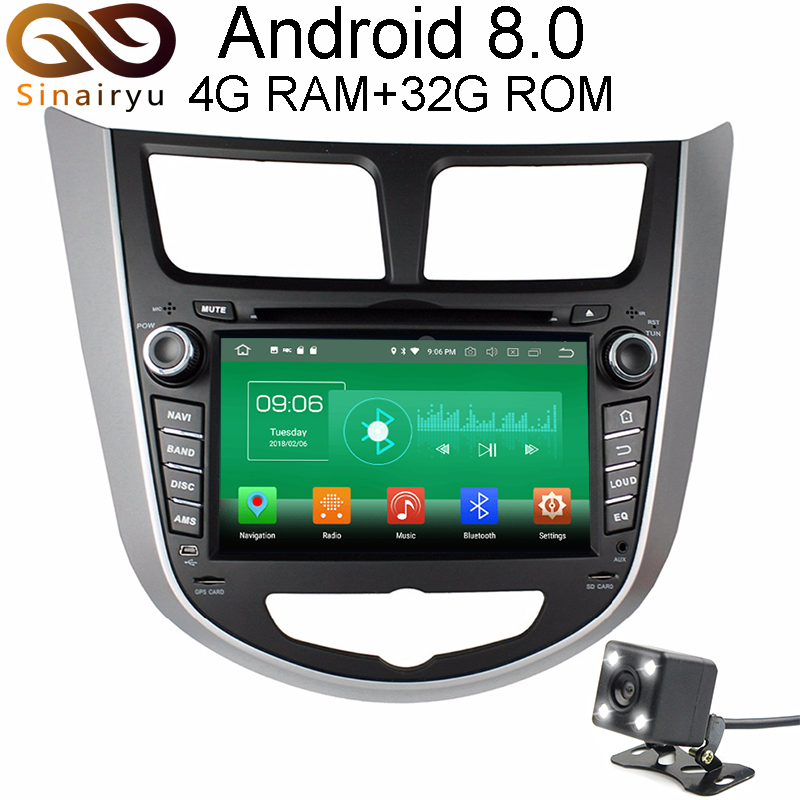 4GB RAM Android 8 0 Car font b GPS b font DVD For Hyundai Solaris Accent
