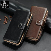 Real Genuine Leather Horizontal Belt Holster Case For iPhone 7 Plus 6 6S Plus Cell Phone Wallet two in one zipper phone Bag