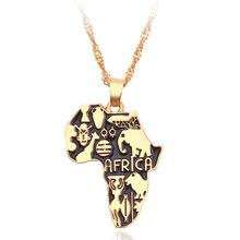 Африка Карта Ожерелье флаг тотем символ животных Слон подвеска золотого цвета цепи африканские карты ожерелье s Женщины Мужчины колье ювелирные изделия