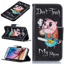 Cartoon Animal Pattern Case For Samsung Galaxy j3 j5 j7 A5 A3 j1 2016 S5 S6 S7 Edge Pig Cats Wallet Stand PU Leather Cover DP07Z стоимость