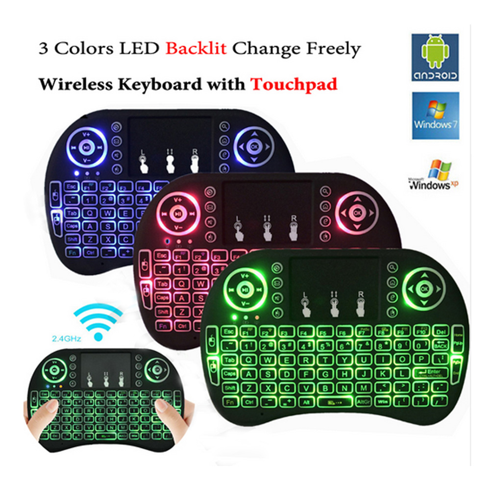 Backlit and normal i8 Air Mouse Mini Wireless Keyboard Touchpad Remote Control for Android TV BOX Backlight PC PS3 Gamepad