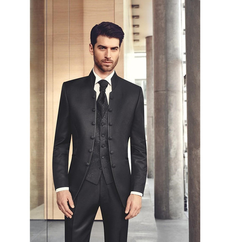 2019 Black Stand Collar Slim Fit Tuxedos For Men 3 Piece Men Wedding Prom Dinner Suits Best Man Groomsman Groom Suit Custom Made