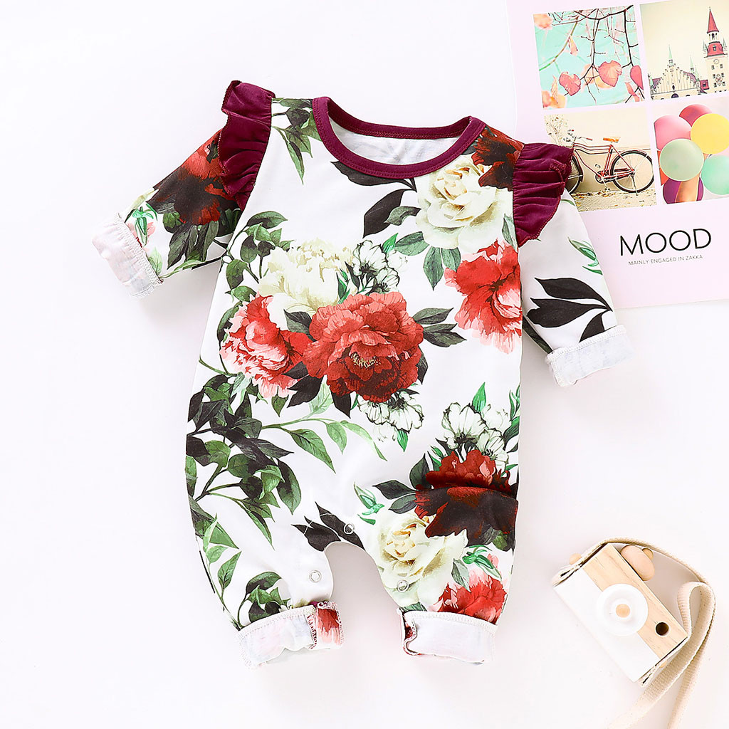 Newborn Infant Toddler Baby Boys Girls Floral Print Romper Jumpsuit Outfits