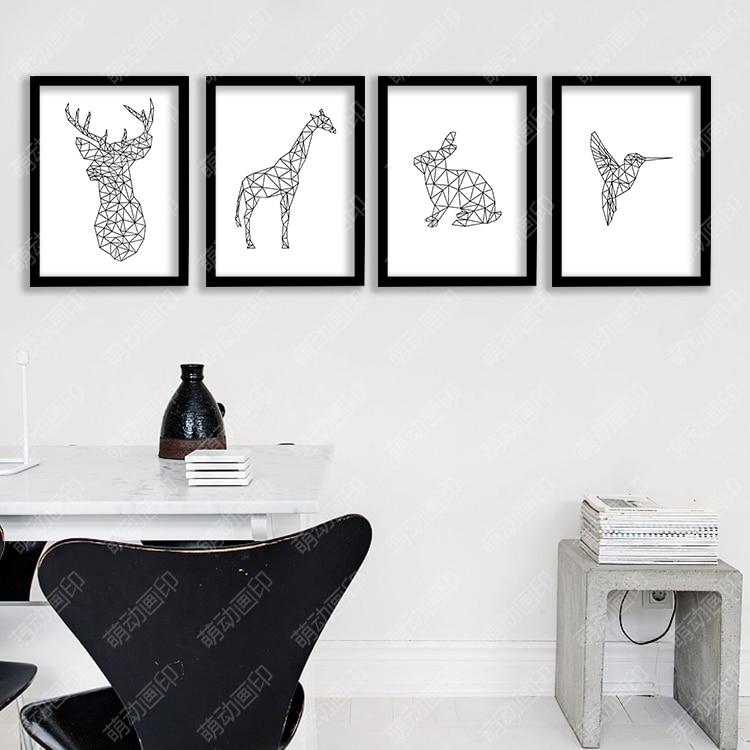 Geometric Purple Deer Wall Art Print Modern Poster Buck: P24 Black And White Lines Elk Animal Canvas Art Print
