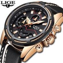 LIGE relojes para hombre, de cuarzo, dorado, informal, de cuero, militar, resistente al agua, deportivo, Masculino