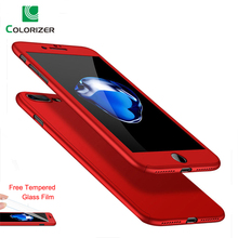 Luxury Hard 360 Full Cover Protection Case For iPhone X 8 7 6s Plus Phone Case For iphone SE 5 5s 6 7 8 Case With Tempered Glass цена и фото