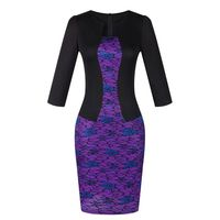 Retro Vintage Women Long Sleeve Patchwork Causal Bodycon Pencil Party Dress Office Dresses 5 Colours Free