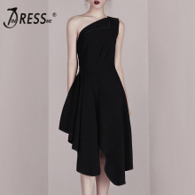 INDRESSME Fashion One Shoulder Slash Neck Backless Asymmetrical Hem Women Dress Knee Length Party Dress Vestidos 2019 недорого