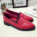 LIN KING Comfortable Women Shoes Square Heel Slip On Ankle Shoes Low Heel Solid Loafers Leisure Pointed Toe Lady Office  Shoes