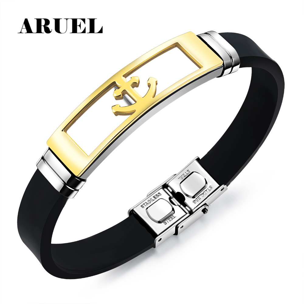 Aruel Rock Punk Men Anchor Stainless Steel Bracelet Male Jewelry Pulseira  Black Silicone Wristband Charm Bracelets Armband Gifts