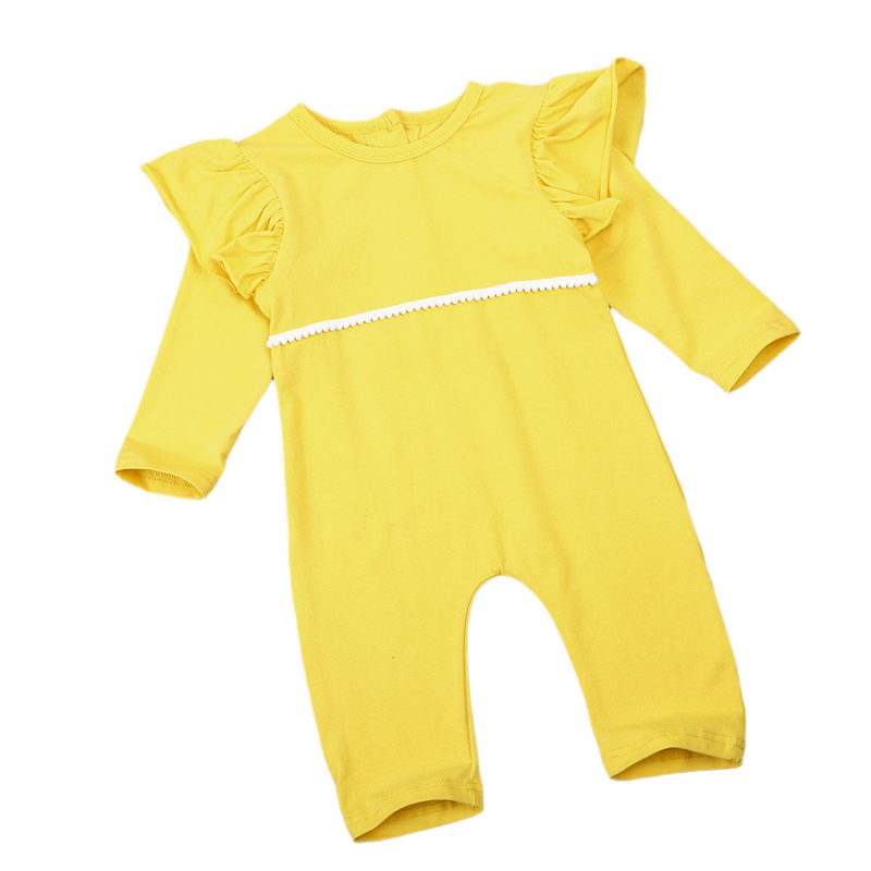Cute Baby Girls Ruffle Romper Yellow Hot Sale Baby Girl Long Sleeve Romper Body Suit For Newborns 2017 New Bebes Kids Jumpsuit