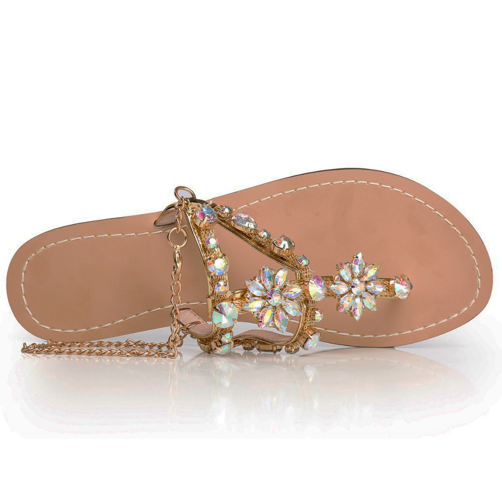 Leather Thonged Sandal  Letters