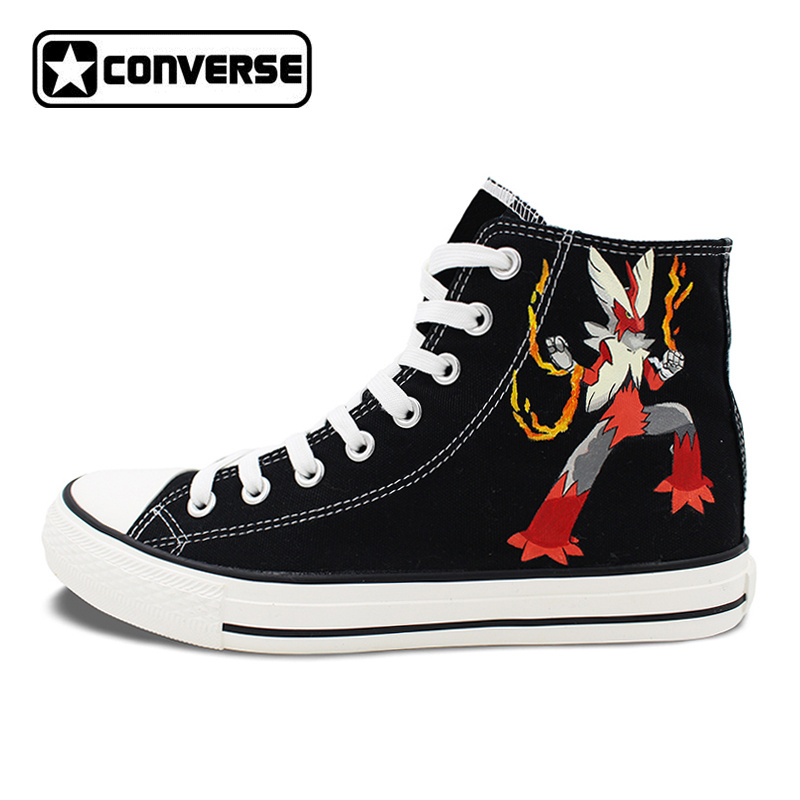 Men Women Converse Hand Painted Shoes Black Design Blaziken Pokemon High Top Canvas Sneakers for Gifts