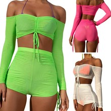 2019 Summer Off Shoulder 2 Piece Set Women Sheer Mesh Crop Top And Shorts Set Sweat Suits Sexy Beach Two Piece Outfits цены