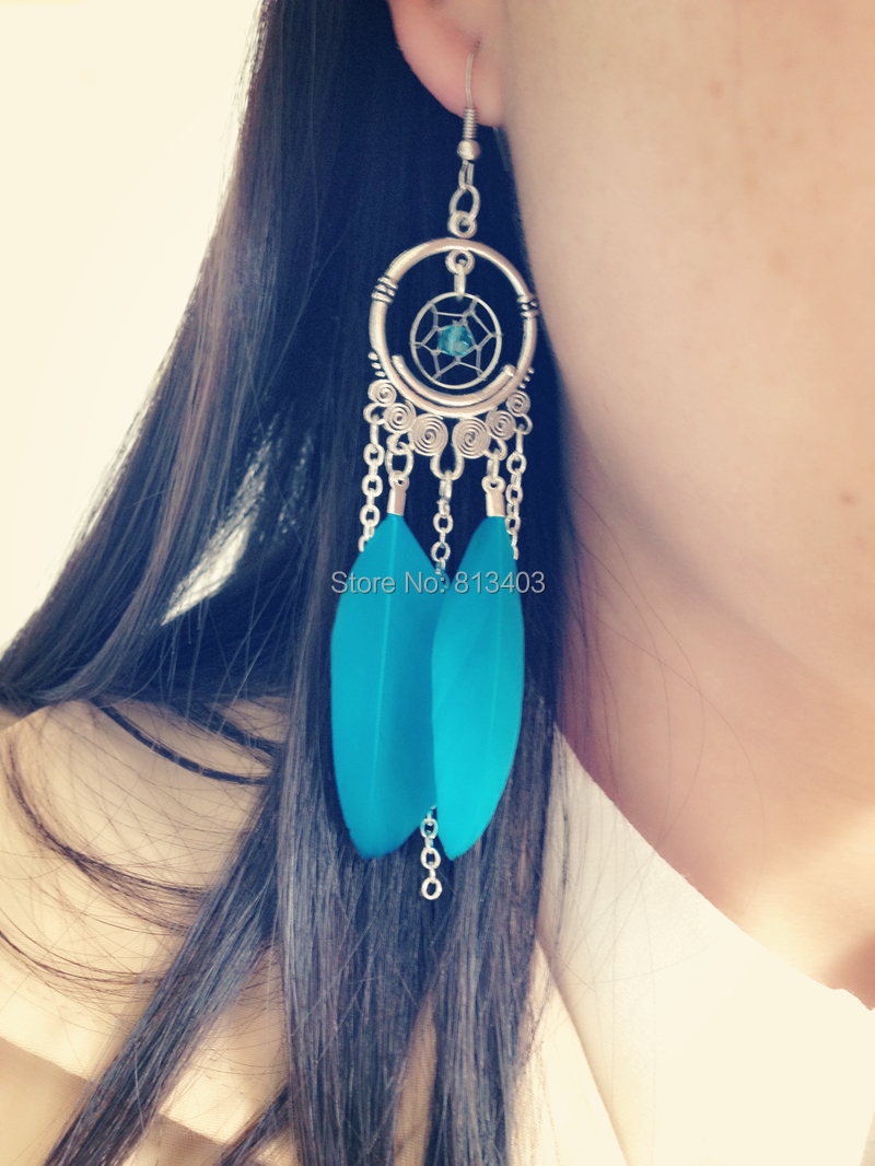 Aliexpress Various Colors Feather Earring Dream Catcher