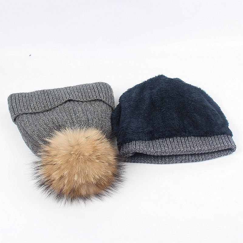 ec29ec9b1ff MAXMESSY Winter Hat Scarf Set For Women Girls Warm Rabbit Fur Knitted Thick  Beanies Ring Scarf Raccoon Fur Pompoms Caps MH143-in Scarf