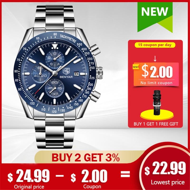 BENYAR Men Watches Top Brand Luxury Sport Quartz Chronograph Fashion Military Watch Men Stainless Steel Clock Relogio Masculino title=