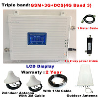 TriBand For 2 Rooms GSM 2G 3G 4G repeater 3G 4G Amplifier 900 WCDMA 2100 LTE 1800 cellular Signal Booster 70dB Gain gsm Repeater