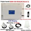 Tribanda para 2 habitaciones GSM 2G 3G 4G repetidor 3G 4G amplificador 900 WCDMA 2100 repetidor gsm ganancia 70dB amplificador de señal celular LTE 1800