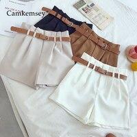 Женские шорты с поясом CamKemsey, белые шорты с высокой талией и широкими штанинами в Корейском стиле, 5 видов цветов 2019