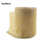 OurWarm 10 Yards 12cm Diamond Mesh Rhinestone Roll Wedding Wrap Crystals Wedding Decoration Festive Party Supplies Silver Gold