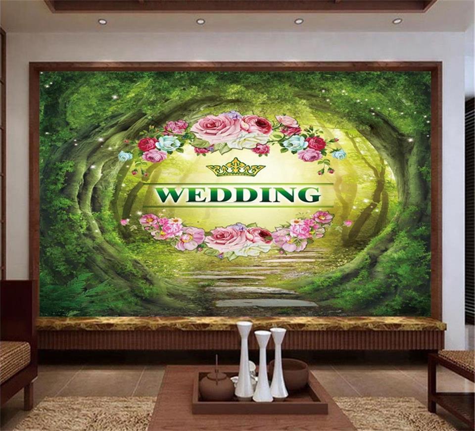 100% Kwaliteit Custom Size 3d Foto Behang Muurschildering Woonkamer Bloem Bruiloft Site 3d Schilderij Sofa Tv Achtergrond Muur Vliesbehang Muursticker Modieuze (In) Stijl;