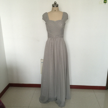 Real Photo Long Chiffon Bridesmaid Dresses Custom Made Sweetheart Capped Sleeves Back Zipper Ruffled Natrual Waist