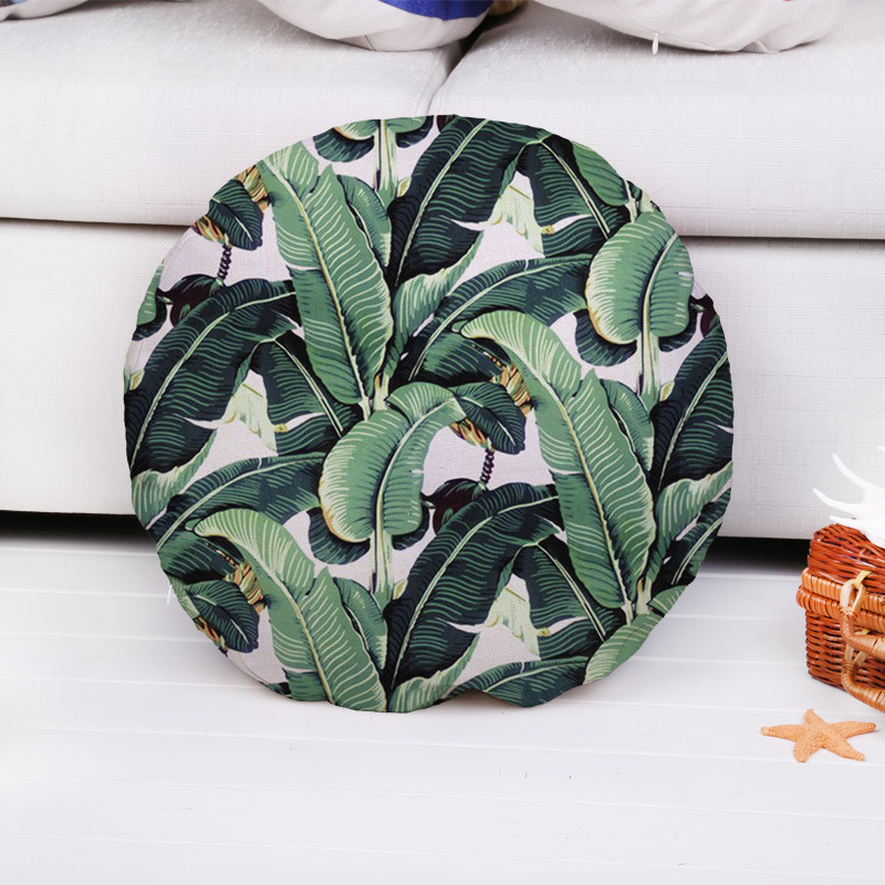 Fashion High Quality Cotton Linen Tropical Plant Bird Circular Decorative Throw Pillow Case Cushion Cover Sofa Home Decor