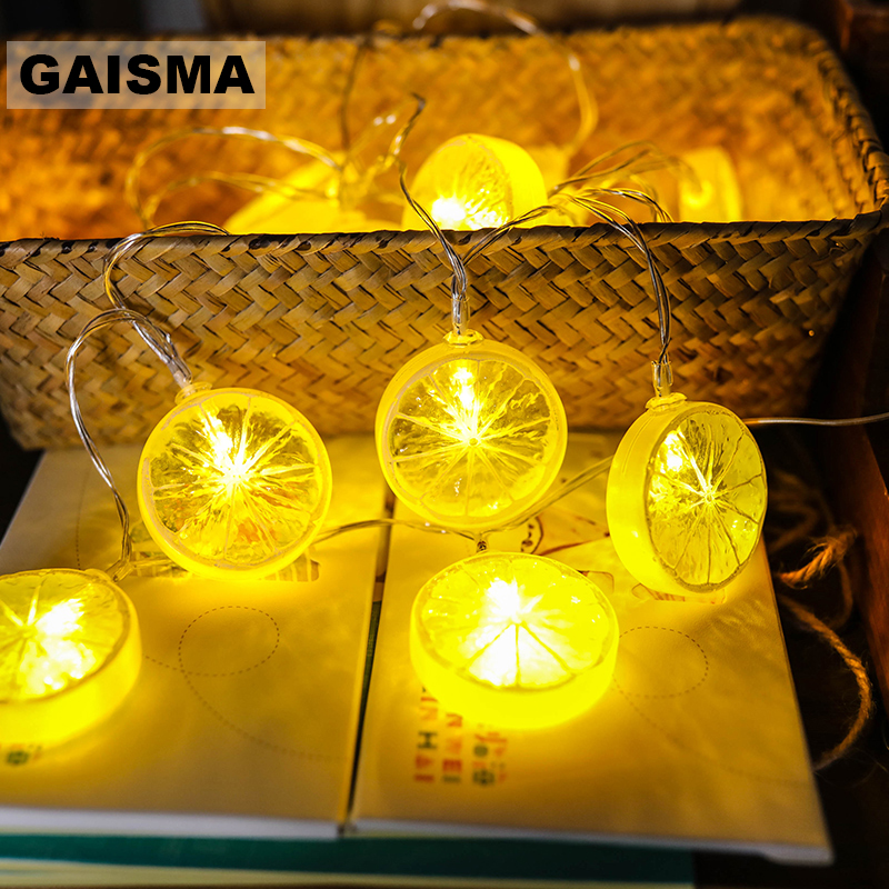 5M 20 Bulbs Lemon LED Fairy Lights Garland Christmas String Lights Wedding Decoration For Holiday Party Bedroom Lighting Chain