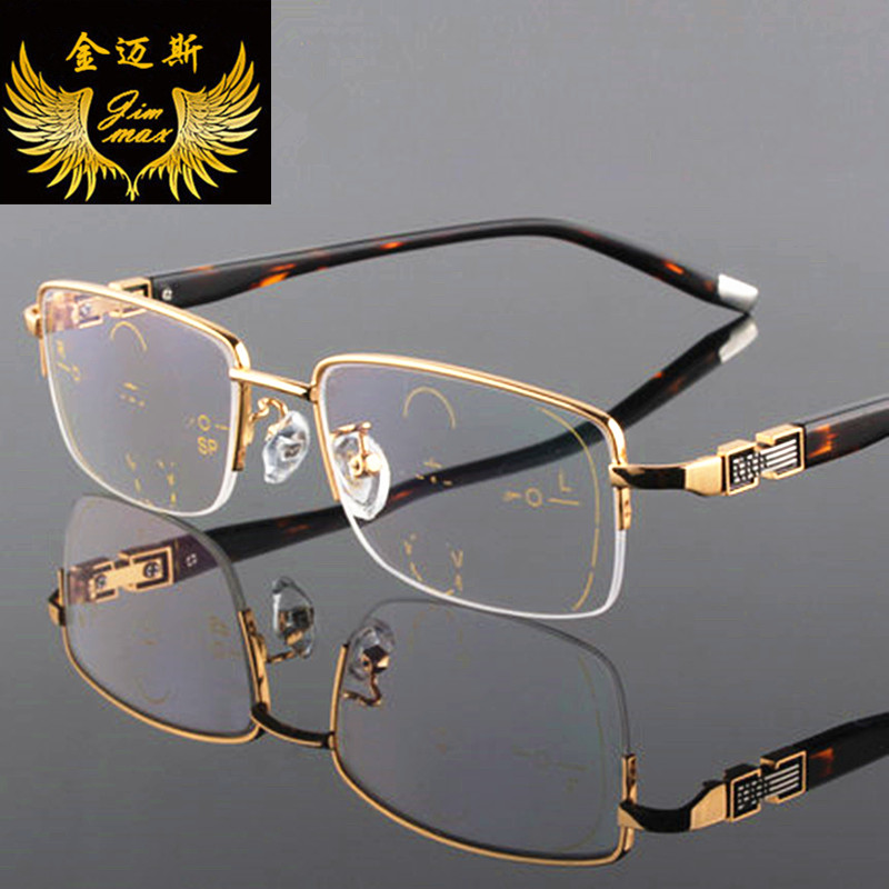 Neue mode für männer stil titanium legierung qualität progressive lesebrille platz halbrand multifokale prsbyopie brille für männer