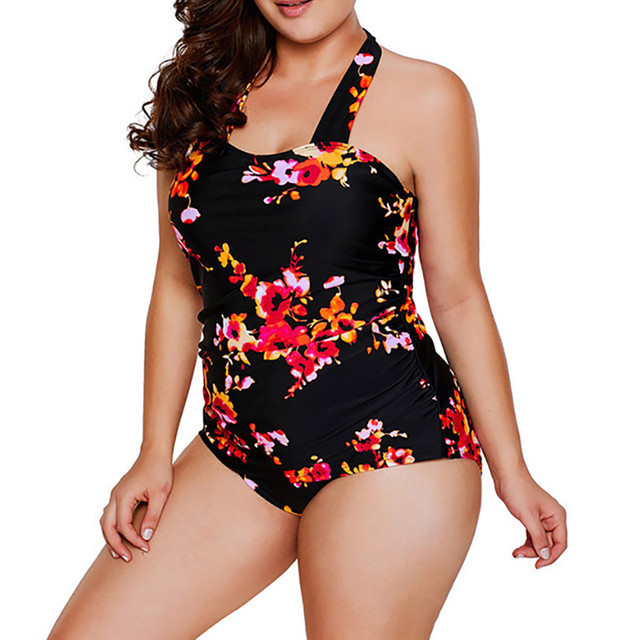 26ea914396369 Swimwear 2019 Sexy Swimsuit Women Summer Print Siamese Plus Size Tankini  Sets Beach Wear Bathing Suits Female Monokini Swim Suit