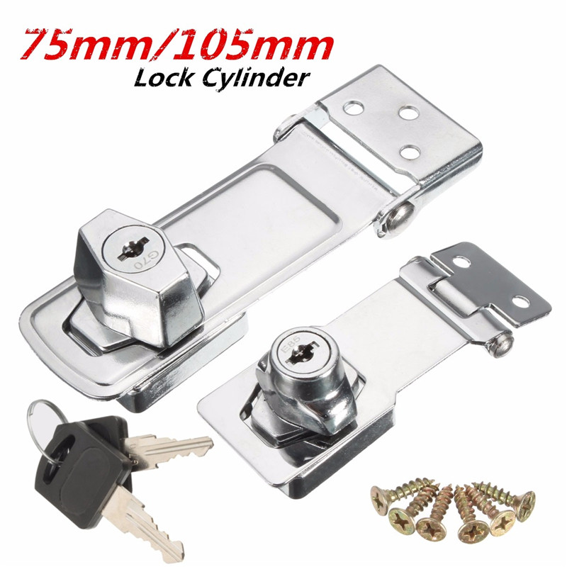 75mm/105mm Stainless Steel Plating Self Locking Security Hasp Staple 2 Keys Lock Shed Cupboard Padlock Door/Shed/Gate/Van Lock warehouse door gate 60mm metal security lock padlock lengthening lock w 4 pcs keys