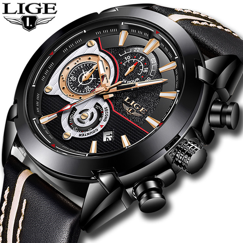 LIGE Fashion Sports Chronograph Leather Mens Watches Top Brand Luxury Quartz Watch Men Casual Waterproof Watch Relogio Masculino цена 2017