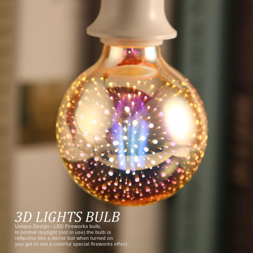Colorful 3D Fireworks LED Light Bulbs E27 4W G80 Ball Lights Holiday Christmas Party Decoration Lamp Star Fairy Night Light