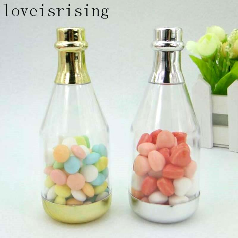 20pcslot Champagne Bottle Designs Plastic Wedding Candy Boxes Candy