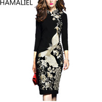 S 3XL Plus Size Autumn Winter OL Dress 2018 Formal Luxury Women Black Embroidery Floral Vintage Stand Collar Pencil BodyconDress