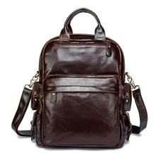 Fashion travel leisure bag zipper leather bag Men and women leather backpack