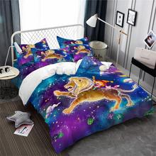 Princess Leo Constellation Bedding Set Dreamlike Galaxy Printed Duvet Cover Kids Colorful Cartoon Pillowcase 3pcs
