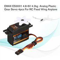 4PCS EMAX Analog Plastic Gear Servo ES3001 4.8V 6V 4.2kg 0.17/0.14s/60 Degree for RC FPV Fixed Wing Airplane Model Accessories