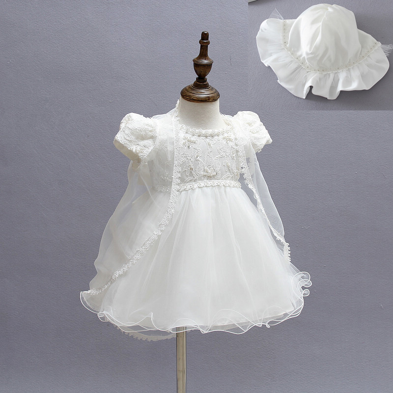 New Baby Girl Baptism Christening Easter Gown Dress Lace Satin Embroidery Shwal Formal Toddler Baby Girl Party Dresses 3PCS/Set