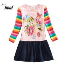 NEAT 2017 new autumn long sleeves dress round neck cotton printed baby girl children's clothing rainbow sleeves dress LH5803 purple geometrical pattern round neck long sleeves christmas dress